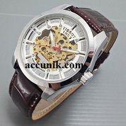 Jam Tangan Tissot Logo T Putih coklat seri 1 leather