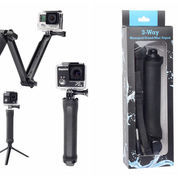 3 Way Monopod - Stand - Mini Tripod For GoPro, Hunter, Xiaomi, SJCam