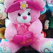 "Boneka teddy Bear with pink love and hat (topi) 13"" inchi kurleb 32cm"