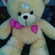 Boneka Teddy Bear Felly ukuran XL kurleb 50 cm warna krem dengan pita dan love