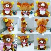 Boneka mainan anak karakter / tokoh fiksi beruang animasi Jepang RILAKUMA 1 ukuran M syal kotak kotak SNI