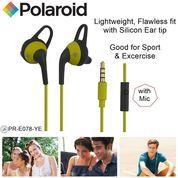 Polaroid Earphone Sports w/ ear tip & mic, stereo headset E078-YE
