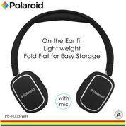 Polaroid headphone On Ear w/ light weight,soft ear pad headset H003-WH