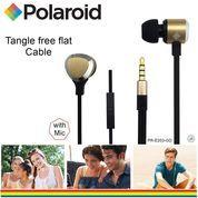 Polaroid Metal Earphone with mic, tangle free cable headset E203-GD