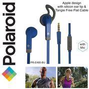Polaroid Earphone Sports w/ ear tip & flat cable stereo headset E495BU