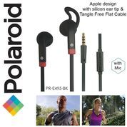 Polaroid Earphone Sports w/ ear tip & flat cable stereo headset E495BK