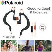 Polaroid Earphone Sports sweat proof with mic, earhook headset E006-OR