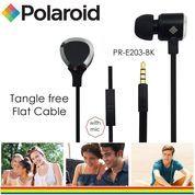 Polaroid Metal Earphone with mic, tangle free cable headset E203-BK