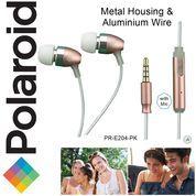 Polaroid Metal Earphone with mic, aluminium wire headset E204-PK