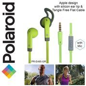 Polaroid Earphone Sports w/ ear tip & flat cable stereo headset E495GR