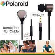 Polaroid Metal Earphone with mic, tangle free cable headset E203-PU
