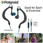 Polaroid Earphone Sports sweat proof with mic, earhook headset E006-BU