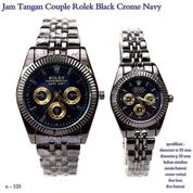 jam tangan couple rolex blacek crome navy