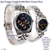 jam tangan couple rolex black crome navy