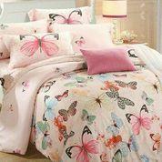 Sprei Butterfly Pink Ukuran 120x200x40 Cm