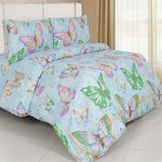 Sprei Butterfly Biru Size 180x200x40 Cm