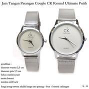 jam tangan pasangan pria / wanita couple ck round ultimate putih