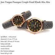 jam tangan couple kulit fossil klasik abu abu