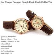 jam tangan couple kulit fossil klasik coklat tua