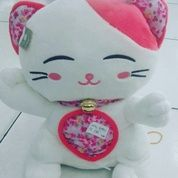 Boneka karakter hewan kucing keberuntungan dg lonceng / cat hoki with bell khas chinese grade super ORI SNI NEW murmer