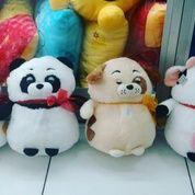 Boneka cacapado with rattle karakter hewan anjing kucing sapi babi bahan velboa halus isi dracon empuk SNI NEW murah