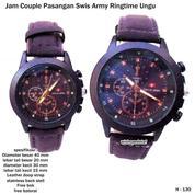 jam tangan couple kulit swis army ringtime ungu