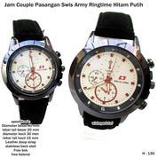jam tangan couple kulit swis army ringtime hitam putih