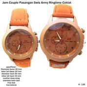jam tangan couple kulit swis army ringtime coklat