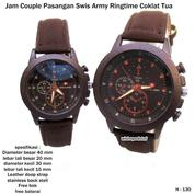 jam tangan couple kulit swis army ringtime coklat tua