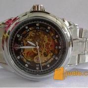 Jam tangan model Rolex otomatis hitam (rantai)