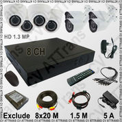 Paket CCTV HD 1.3 MP: 8 Channel, 8 Kamera (4 Indoor, 4 Outdoor)