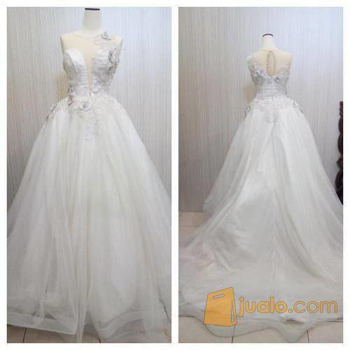 Gaun Wedding Gaun Pengantin Modern Putih Tile Korea Bridal032