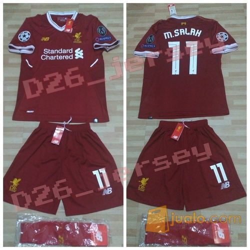 low priced af532 d3215 Jersey Liverpool Home FULL SET KIT OFFICIAL + Cetak Nama + Full Patch UCL