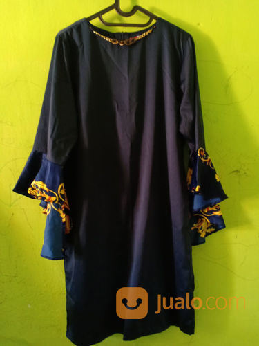 Dress navy satin wanita 21056987