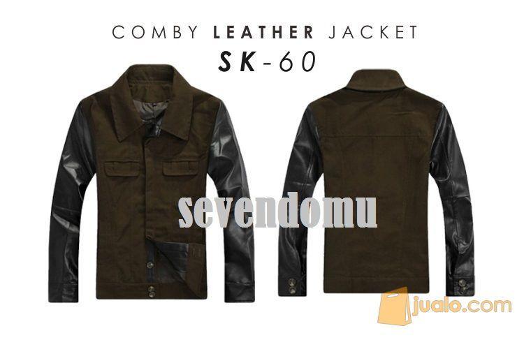Jaket kombinasi kulit mode gaya pria 3977119